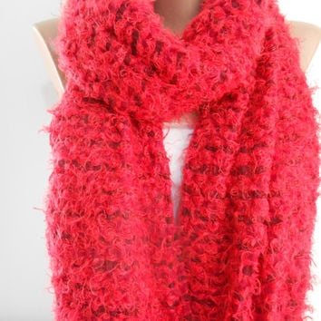 Crimson Red Cowl Scarf Shawl, Super Warm Winter Scarf, Christmas Gift Scarf, Ascot Neck Warmer, Cozy Chunky Scarf, Gift For Her, ScarfClub