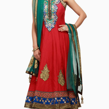 Red and Green color anarkali salwar kameez