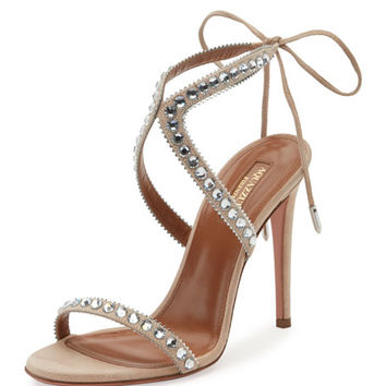 Aquazzura Sweet Lover Suede 105mm Sandal, Gray