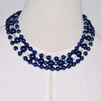 Three Strands Blue Glass Pearls Crystal Necklace