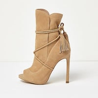 Nude suede wrap around peep toe boots - boots - shoes / boots - women