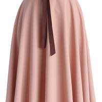 Tender Flaunts Belted A-line Skirt in Rouge Pink Pink S/M