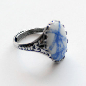 Delft Blue and White Silver Adjustable Ring, Windmill Ring, Holland theme, Antiqued Silver Ring, Blue and White Vintage Glass Rings, SRAJD