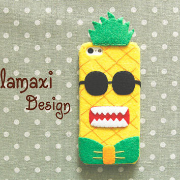 Handmade Felt Pineapple Phone Case Cover, Pineapple iPhone 6, iPhone 6 Plus Case, Yellow Case for iPhone 4/4S/5/5S/5C, Custom Phone Case
