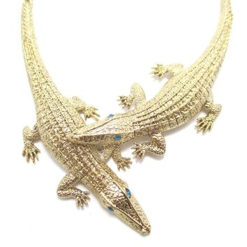 Large Alligator Crocodile Wrap Around Statement Pendant Necklace in Gold | DOTOLY