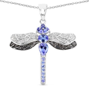 1.93 Carat Genuine Tanzanite & White Topaz .925 Sterling Silver Pendant