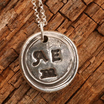 Three Letter Initials Wax Seal Pendant in Fine Silver