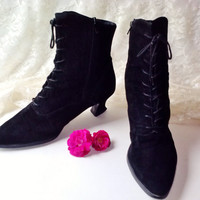 Black Suede Leather Ankle Boots Vintage Women Shoes Lace Up & Zip Victorian Goth Style High Heel Pointed Toe Boots Size 9