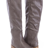 Grey Mid Calf Riding Boots Crinkled Faux Leather