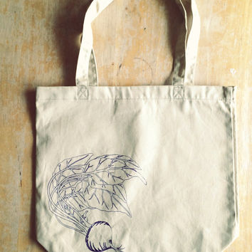Screen Printed Organic Cotton Beet Tote Bag in Smaller Size