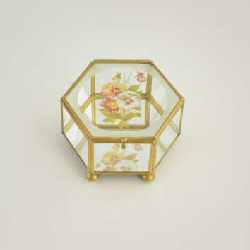 Vintage Glass Hexagonal Box - Geometric Gold Terrarium - Display Box with Floral Design