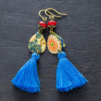 Teardrop Blue Tassel Earrings with Red Czech Beads and Vintage Tin, Teardrop Earrings, Blue Tassel Jewelry, Boho Chic Earrings