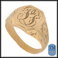 """Vintage 14k Gold Signet Ring with Initials """"PF"""" - Size 8"""