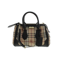 Burberry Womens Gladstone Leather Trim Haymarket Check Tote Handbag