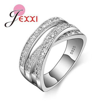 ac DCCKO2Q JEXXI 2017 Simple Wedding Rings For Women Shiny Elegant Cubic Zircon Jewelry 925 Sterling Silver Anniversary Engagement Ring