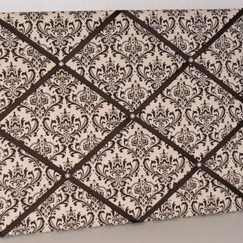 Brown & Beige Damask Print fabric ~ French Memo Board by ToileChicBoutique