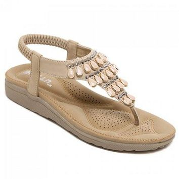 Leisure Flip Flop and Beading Design Sandals For Women - Apricot 35
