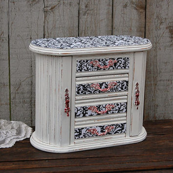 Jewelry Armoire, Shabby Chic Jewelry Box, Damask, Black, White, Red, Upcycled, Hand Painted, Wood