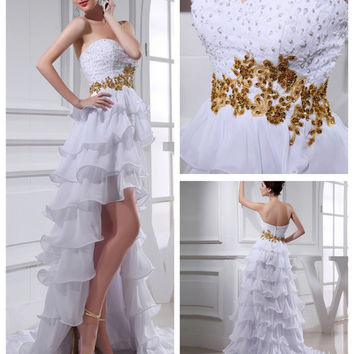 Front Short  wedding dress with a long tail strapless summwe beach wedding gown embroidery prom dress tea length bridal formal dresses