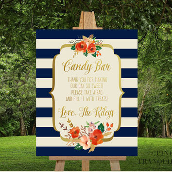 Candy Bar Sign, PRINTABLE Wedding Sign, Thank You Sign, Fall Wedding Sign, Navy Cream Wedding, Navy Rust Wedding, Take a Treat, Reception