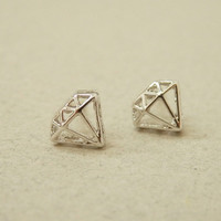 Cute white gold plated diamond shaped stud earring (Silver post), Everyday Jewelry, minimal jewelry, Bridesmaid Jewelry