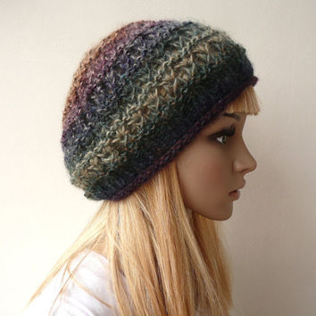 Slouchy Beanie Slouch Hat Slouchy Beret Multicolor Tam Wool Hat Winter Hat in Variegated Yarn in Rich Earthy Colors