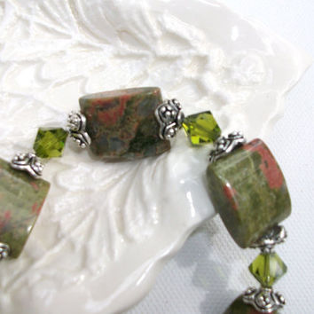 Bracelet Swarovski Crystal Silver Jade by daisybethdesigns on Etsy