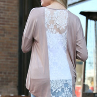 Taupe Wrap Front with Lace Back Top