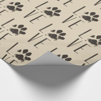Love with Brown Grunge Pet Paw Print Pattern Wrapping Paper
