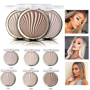 MISS ROSE Brand Makeup 6 Colors Glitter Highlighter Bronzer Face Glow Base Make Up Highlighter Contouring Palette Gold Shimmer