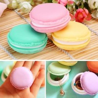 New Lady Girl Cute Mini Macarons Box Candy Color For Fashion Jewelry Earring Box Outing Storage Boxes