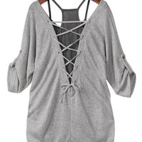 Gray Lace-Up Blouse + Cami Tank Top Twinset