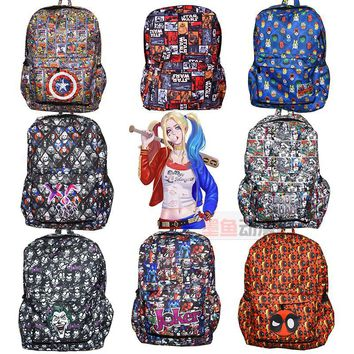 DC Marvel Comics Captain America  Deadpool Star Wars Backpack Red X-men Backpack Teenagers Casual Shoulder School Bag 22 style