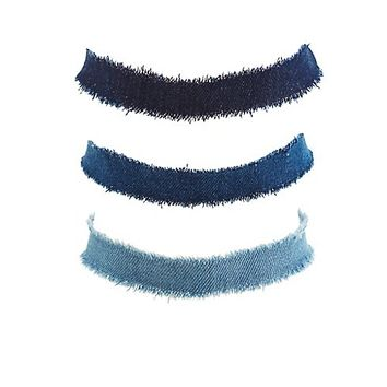 Plus Size Denim Choker Necklaces - 3 Pack
