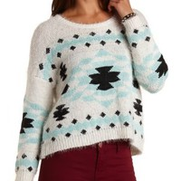 Fuzzy Aztec Pullover Sweater by Charlotte Russe - Ivory Combo