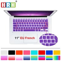 """HRH French UK/EU Silicone Soft Color AZERTY Keyboard Cover Skin Protector For Apple Mac MacBook Air 11"""" 11.6 inch A1465/A1370"""