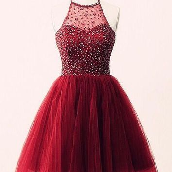 Burgundy Halter Crystal Tulle Homecoming Dress