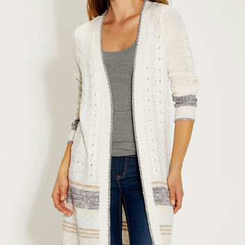 cable knit duster with neutral stripes