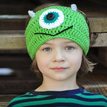 Crochet headband with monster face - women's crochet headband - monster ear warmer for kids - Adjustable head band - earwarmer for kids