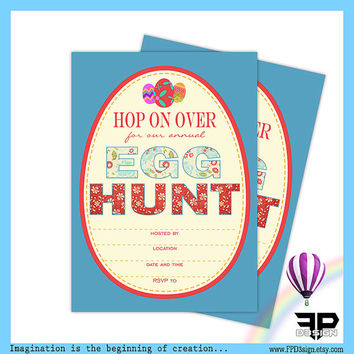 Easter Egg Hunt Invitation | Instant Download PDF, JPG | Fill In Invitation | Easter Invitation | Blue | Digital Download