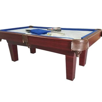 7' Brown and Blue Slate Billiard and Pool Game Table