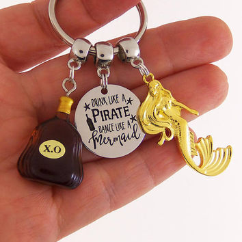 Pirate keychain, mermaid keychain, beer drinking gift, beer drinking babe, beer gifts, drinker gifts, drinking gifts, drink like a pirate