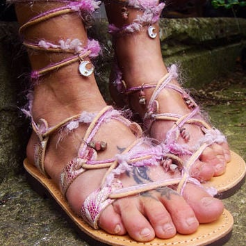 Beach Wedding Party Sandals, Tie up Gladiator Sandals, Boho Greek Leather Sandals, romantic flat shoes women, pink white lavender sandals