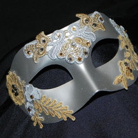 Silver Men's Mask with Silver and Gold Acents