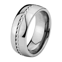 *** LASER ENGRAVING SERVICE *** 8mm Sliver Inlay Cobalt Free Tungsten Carbide COMFORT-FIT Wedding Band Ring for Men and Women (Size 9 to 11.5) [DETAIL INFORMATION - PLEASE CLICK AND CHECK THE ITEM DESCRIPTION] - Size 11
