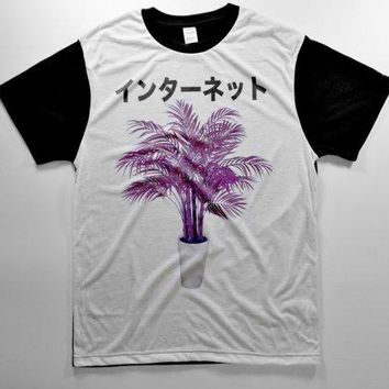 Purple Drank Plant Internet Yin Yang Cyber Punk Kawaii Pastel Goth Tumblr Club Kid Rave Grunge Japanese Ghetto Thisrty Edit 90s T Shirt