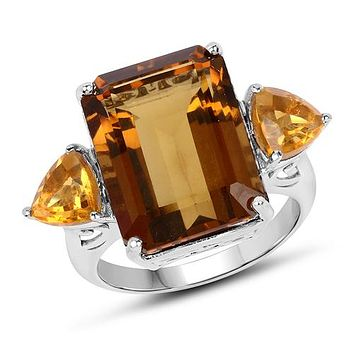 A Limited 12.30CT Genuine Champagne Quartz and Citrine Ring
