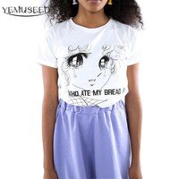 YEMUSEED WHO ATE MY BREAD Tee Shirt Women Harajuku Cute Girls Tears Printed T shirt Lady Tops XL Plus WMT176