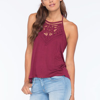 Full Tilt Crochet High Neck Womens Halter Top Plum  In Sizes