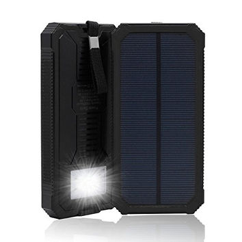 QueenAcc 15000mAh Solar Charger, Solar Power Bank with LED Flashlight Portable Charger, Backup Solar Power Pack, Dual USB Port Solar Battery Charger for Smart phones and Other USB Devices(black)